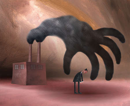 Large smoke hand reaching from smokestack to dejected businessman