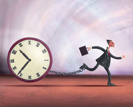 Businessman running with clock chained to ankle