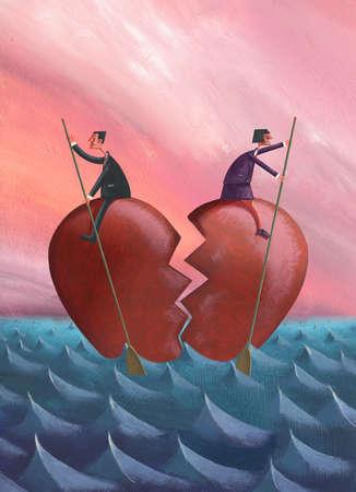 Couple on halves of broken heart rowing in opposite directions on ocean