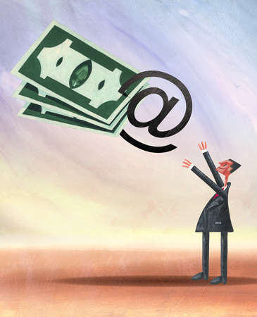 Businessman reaching for money attached to at symbol