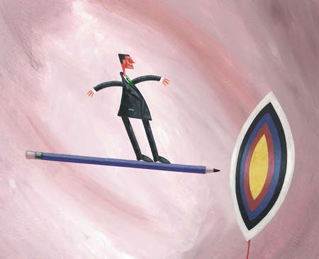Businessman on flying pencil aiming for target