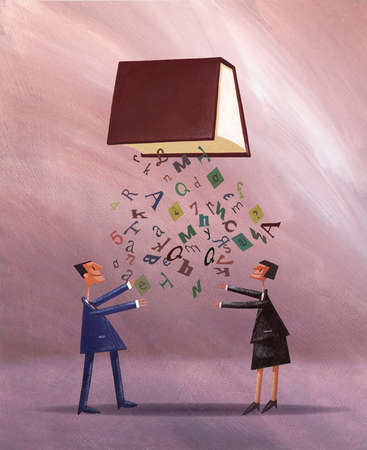 Businessman and businesswoman reaching for letters falling from book overhead