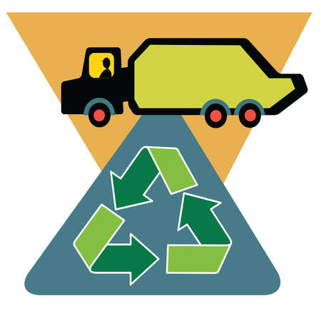 Recycling symbol under garbage truck