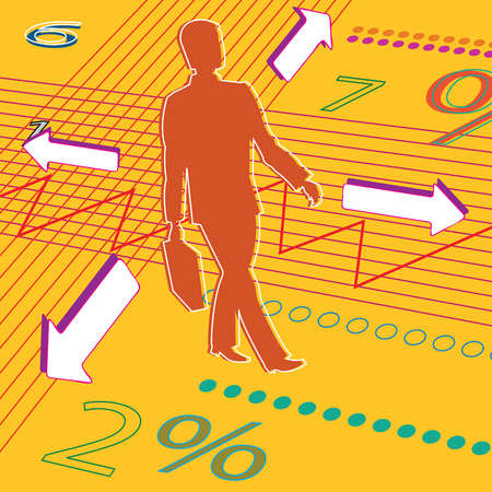 Businessman walking over charts and arrows