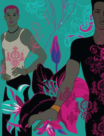 Floral pattern over men