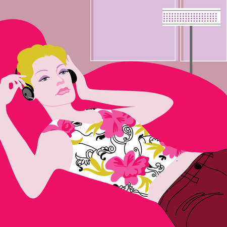Calm woman laying in armchair and listening to headphones