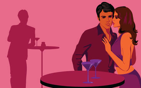 Silhouette of man watching couple at table in nightclub
