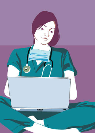 Nurse sitting cross-legged and using laptop