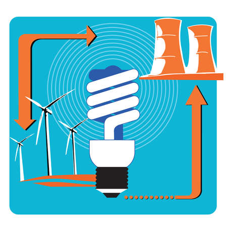 Wind turbines, compact fluorescent light bulb and nuclear cooling towers