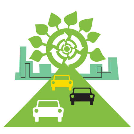 Recycling symbol and city behind cars on green road