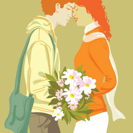 Couple with bouquet of flowers face to face