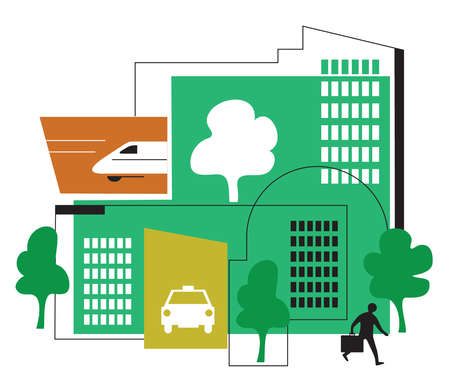 Green building with transportation symbols