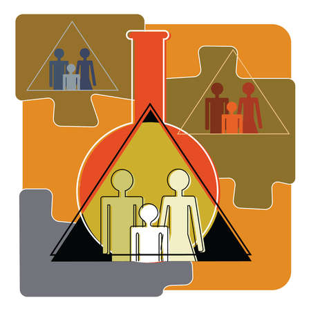 Familles in pyramid jigsaw pieces over beaker