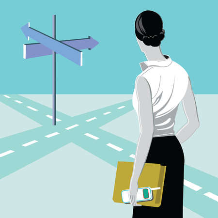 Businesswoman with book and cell phone looking at arrows at crossroads