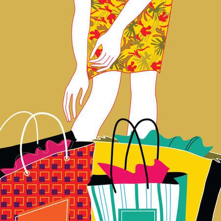 Woman reaching down toward shopping bags