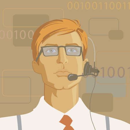 Businessman wearing headset with binary code in background