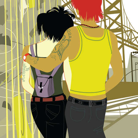 Teenage couple hugging near bridge