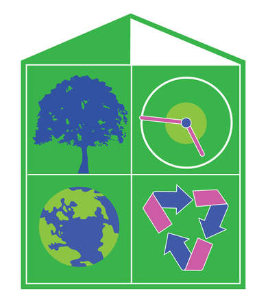 House formed by blocks with tree, clock, globe and recycle symbols