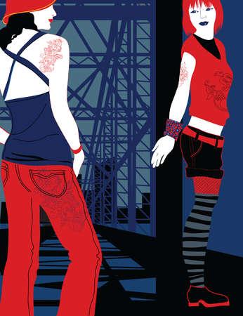 Young, cool women on bridge