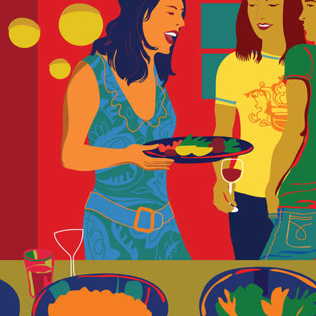 Laughing woman holding plate of food at party