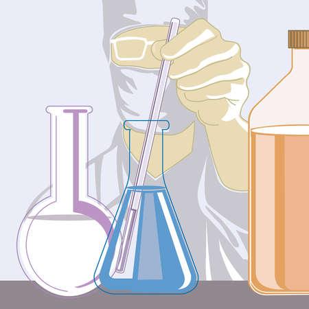 Scientist stirring liquid in beaker