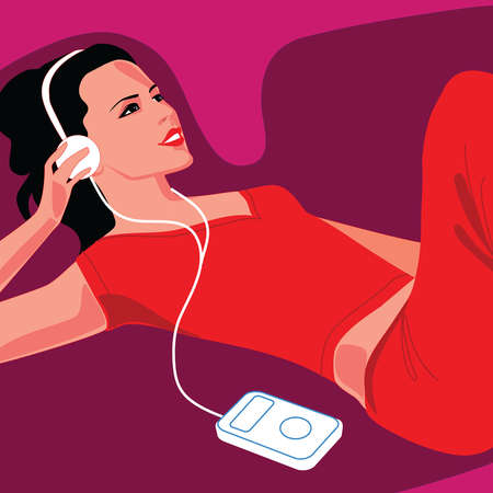 Woman wearing headphones and listening to music on mp3 player