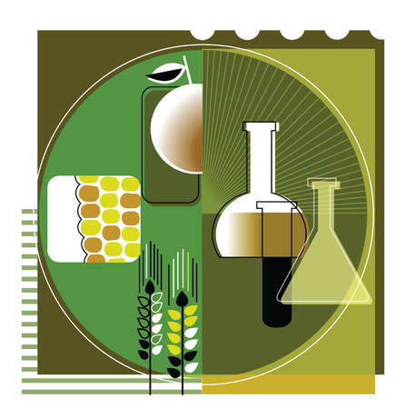 Beakers and corn in circle
