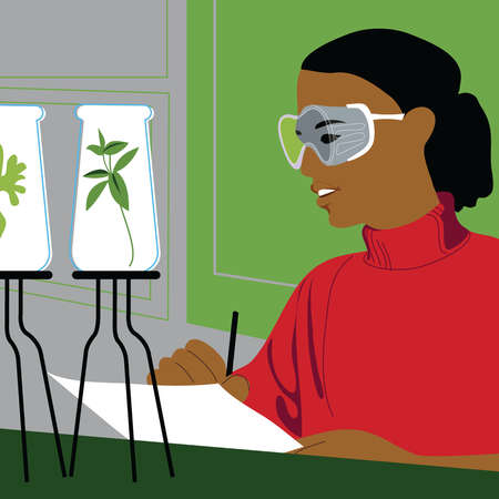 Smiling scientist examining plants in beakers