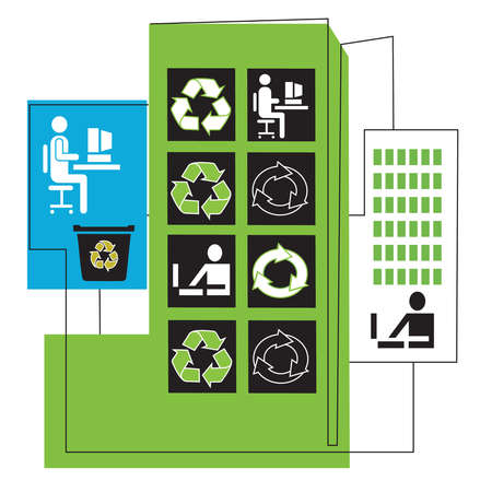 Business people at computers and recycle symbols in highrise