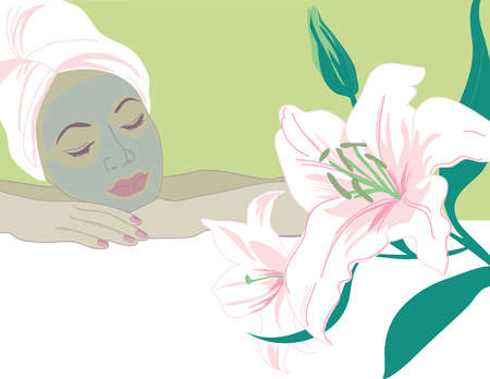 Serene woman with eyes closed and facial mask