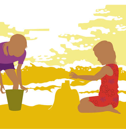 Girls making sand castle on beach