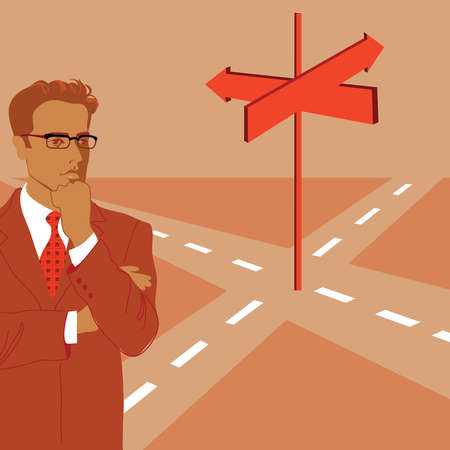 Pensive businessman standing at arrow signs at crossroads
