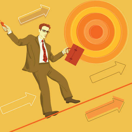 Businessman balancing on tightrope surrounded by ascending arrows and bull's-eye