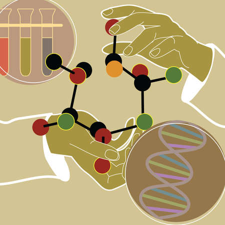 Hands holding molecule structure next to double helix and test tubes