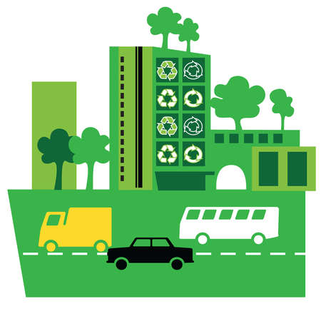 Cars on green road in front of green buildings with recycle symbols