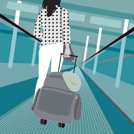 Woman pulling suitcase on moving walkway in airport