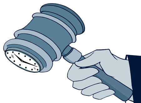 Hand holding gavel with clock