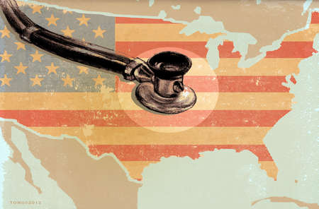 Map of the United States with a Stethoscope