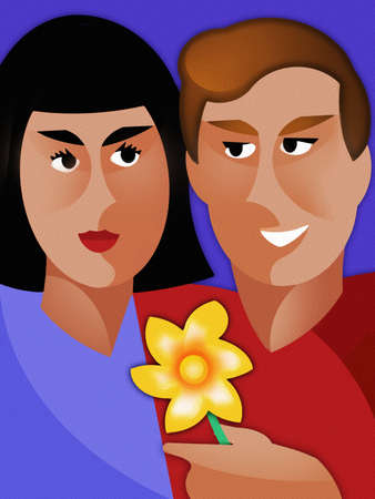 Smiling man presenting flower to woman