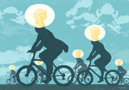 Bike riders wearing Florescent Light Bulbs on their heads