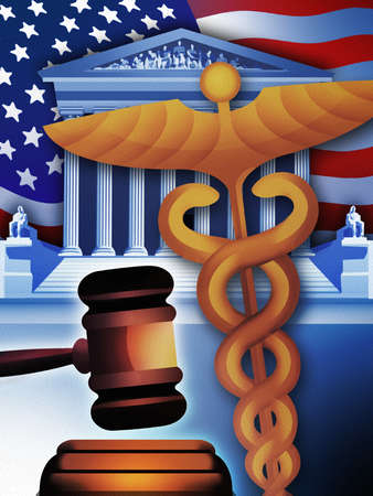 Caduceus, gavel, US Supreme Court building and American flag