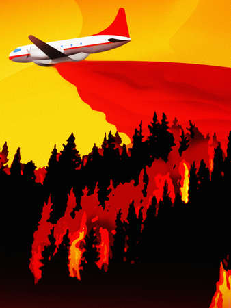 Airplane dropping water over forest fire