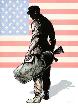 Soldier with rifle and duffel bag in front of American Flag