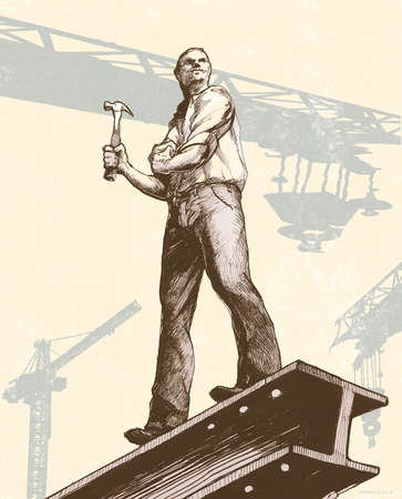 Worker on Girder holding Hammer
