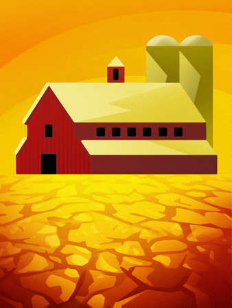 Cracked earth below barn with silos