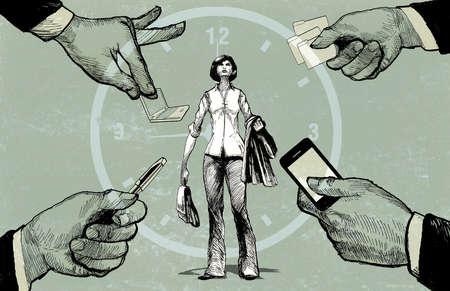 Working Woman Balancing Workload