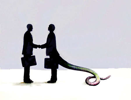 Businessman with reptilian tail shaking partner?s hand