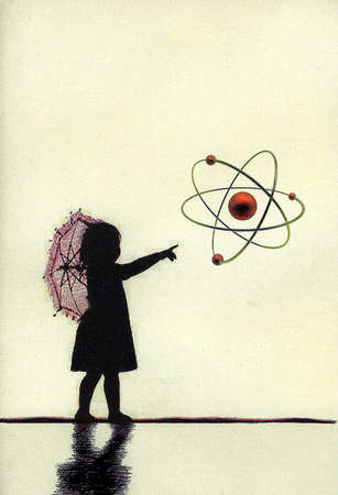 Girl with parasol pointing at atom symbol