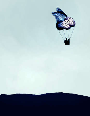 People riding in brain hot air balloon