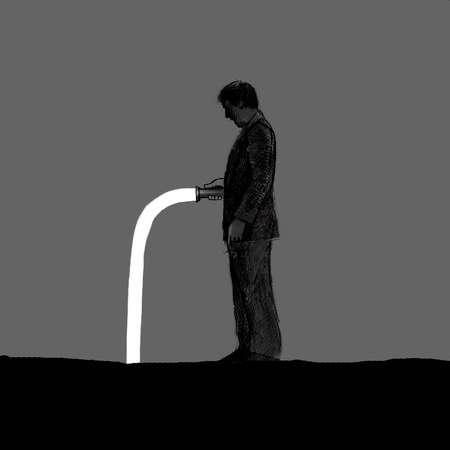 Businessman holding flashlight with bent light